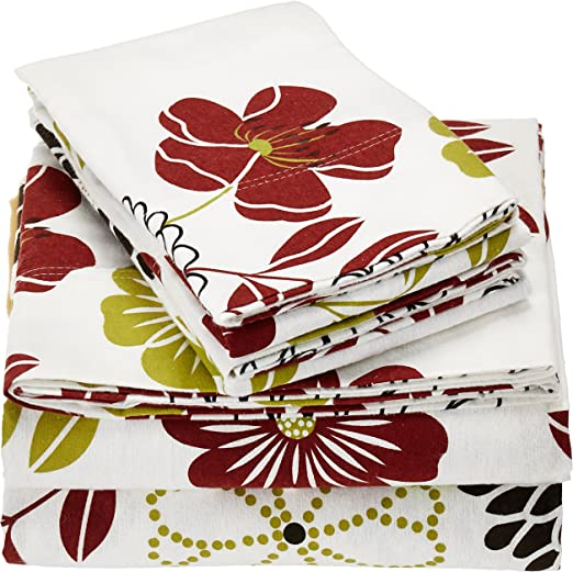 Amazon Com Tribeca Living Floral Printed Extra Deep Pocket Flannel Sheet Set Twin Home Kitchen