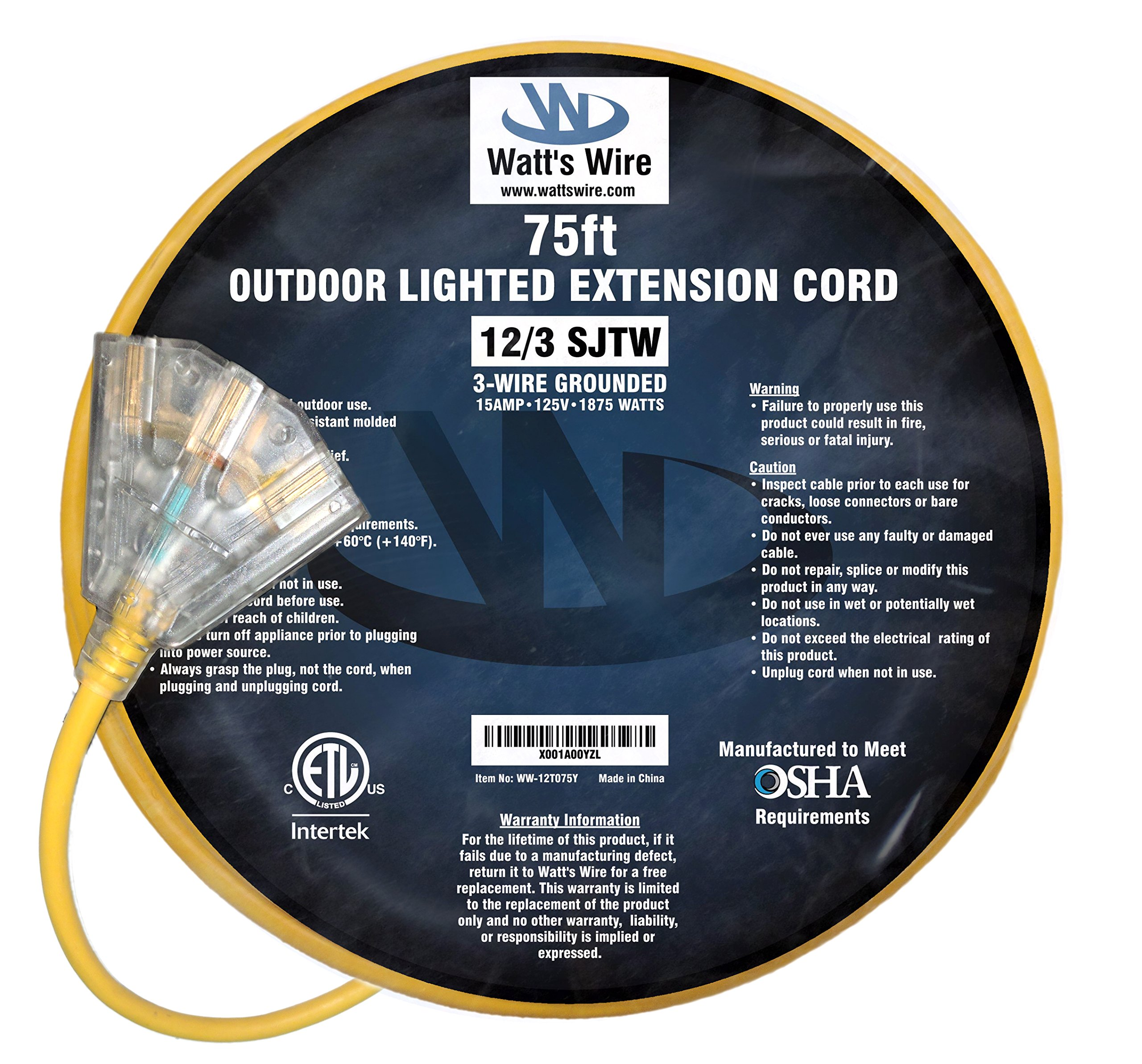 75 ft 12 Gauge Heavy Duty Indoor Outdoor SJTW Lighted Triple Outlet Extension Cord by Watts Wire - Yellow 75 foot 12 AWG Copper Lighted Multi Outlet Grounded 12/3 Extension Cord