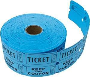 Tacticai 1000 Blue Raffle Tickets (8 Colors Available) for Events, Entry, Class Reward, Admittance, or Fundraising, Tear Away Tickets, Brightly Colored Paper (Double Roll - Keep) - Made in USA