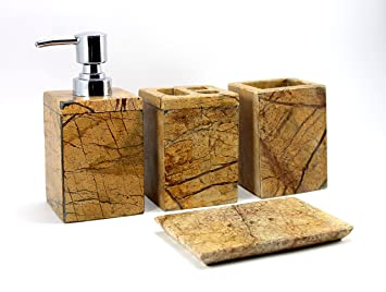 Attrayant Stonkraft 4 Piece Set Of Natural Marble Stone Made Bathroom Set Accessories  With Soap Dispenser, Soap Dish , Toothbrush And Toothpaste Holder:  Amazon.in: ...