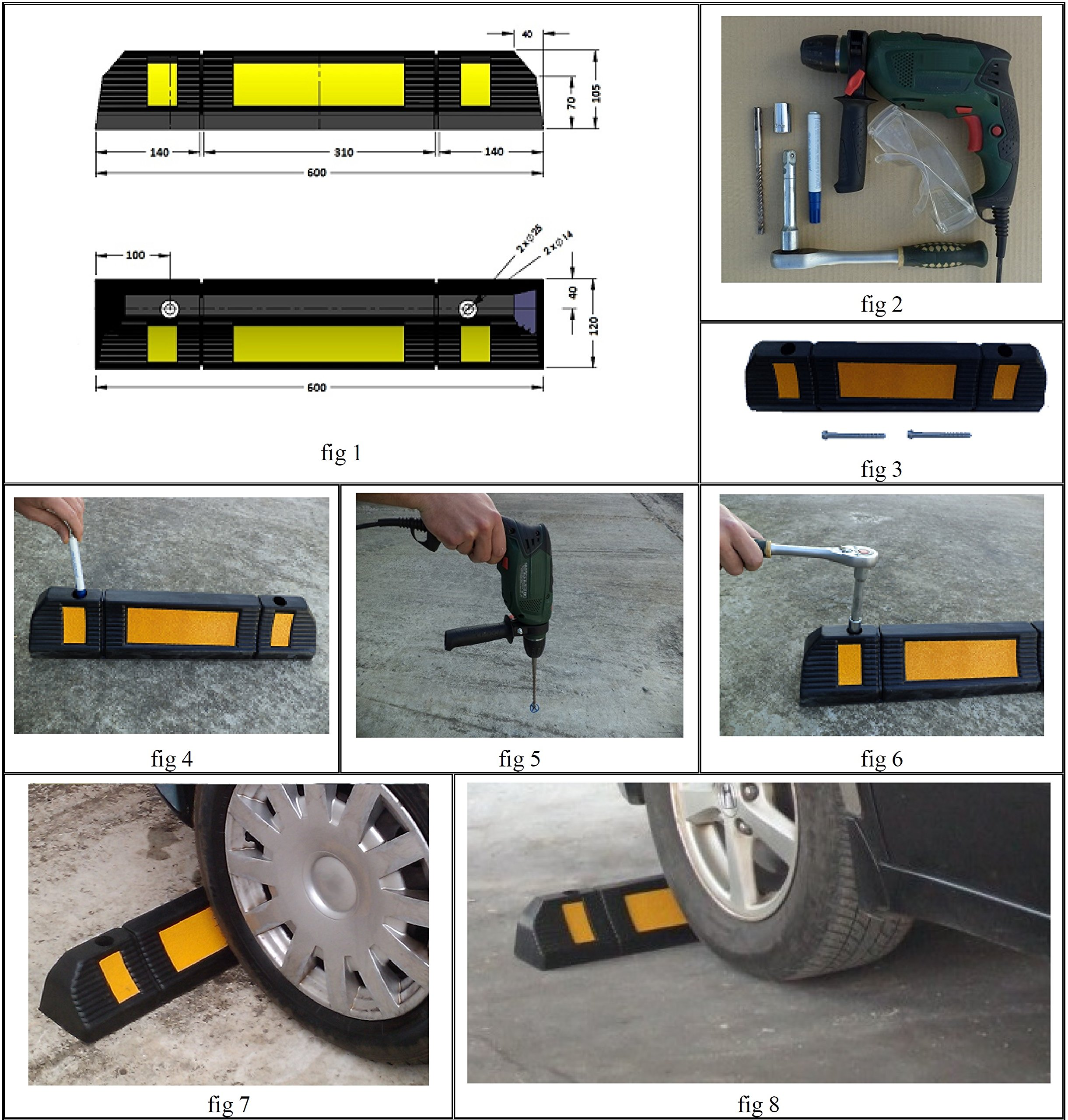 Parking Stopper for Garage Floor, Blocks Car Wheels as Parking Aid and Stops the Tires, acting as Rubber Parking Curbs that Protect Vehicle Bumpers and Garage Walls, 23.6''x4.7''x3.9'' (Pack of 2) by SNS SAFETY LTD (Image #7)