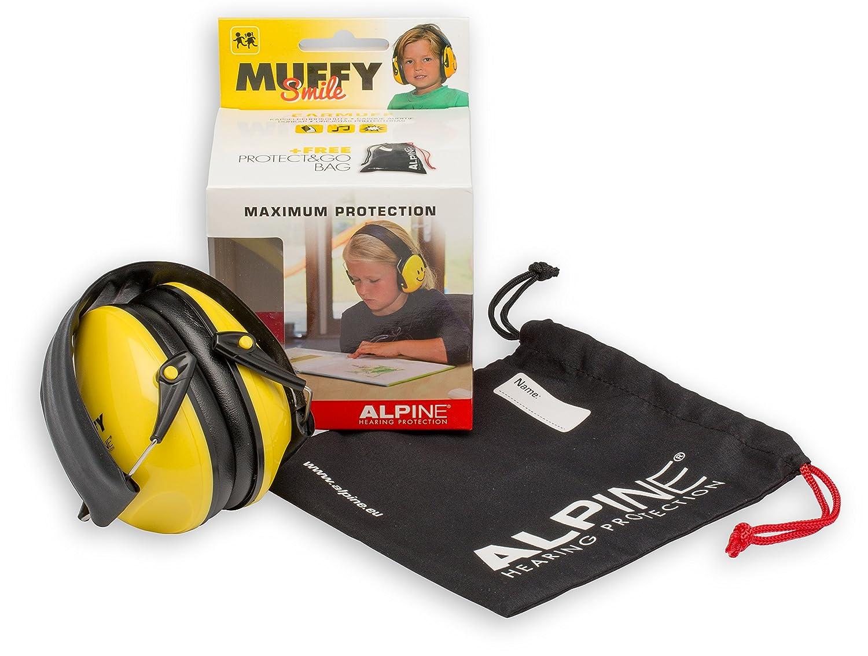 Amarillo Alpine Muffy Orejeras para ni/ños Protecci/ón para los o/ídos de ni/ños a partir de 2 a/ños Resistente y f/ácil de guardar Ajuste c/ómodo Previene el da/ño auditivo