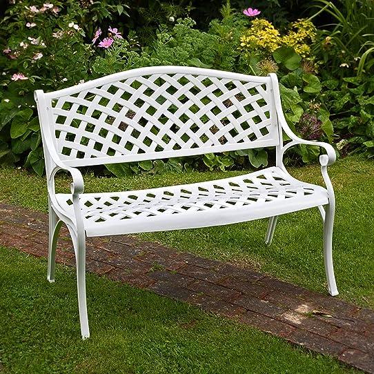 Banc de jardin Jasmine en aluminium, coloris blanc: Amazon.fr: Jardin