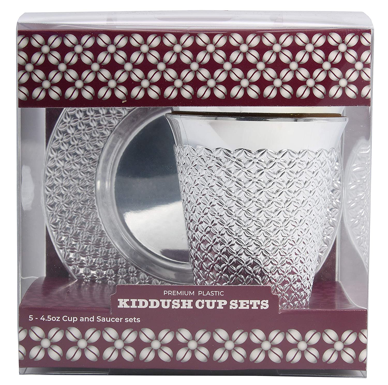5 Sets Shabbat Exquisite 5.5 oz Disposable Plastic Kiddush Cup and Tatz Silver Cup and Saucer Set for Passover Wedding Brit and Year Round -10 Count