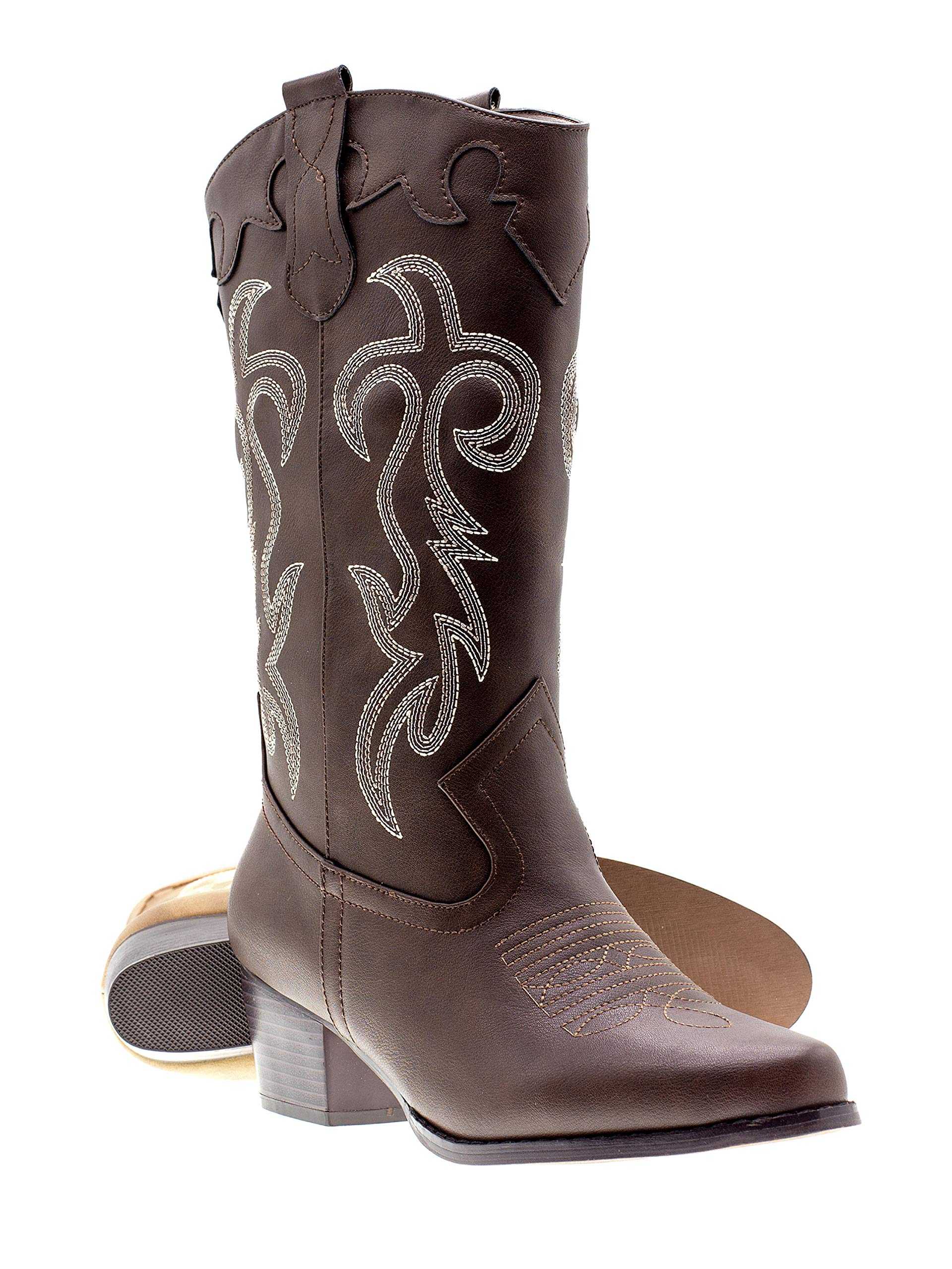 Canyon Trails Women's Classic Embroidered Pointed Toe Western Rodeo Cowboy Boots (8 (M) US Women's, Brown) by Canyon Trails