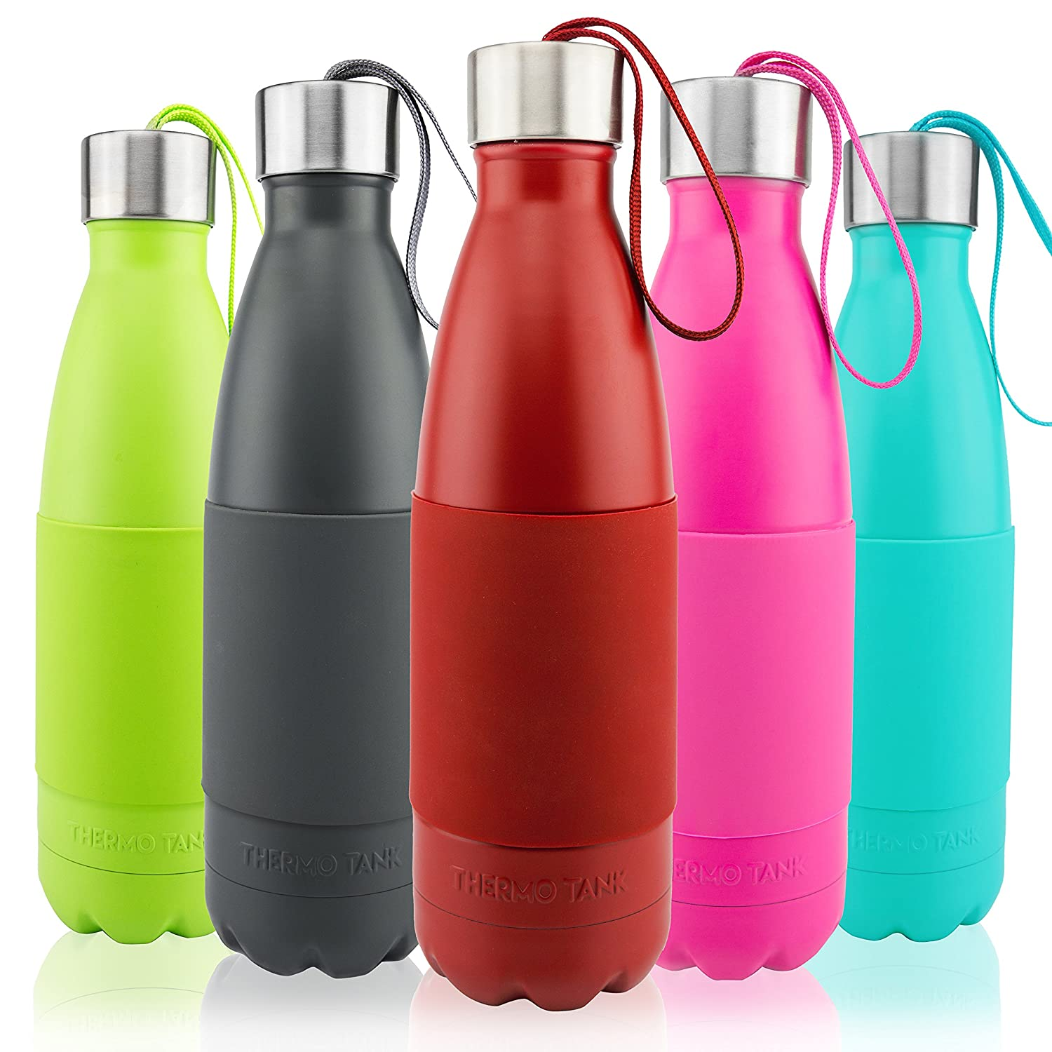 Ice Cold 36 Hours Thermo Tank Insulated Stainless Steel Water Bottle Vacuum Copper Technology Carry Loop Lid Silicone Grip 17 Ounce