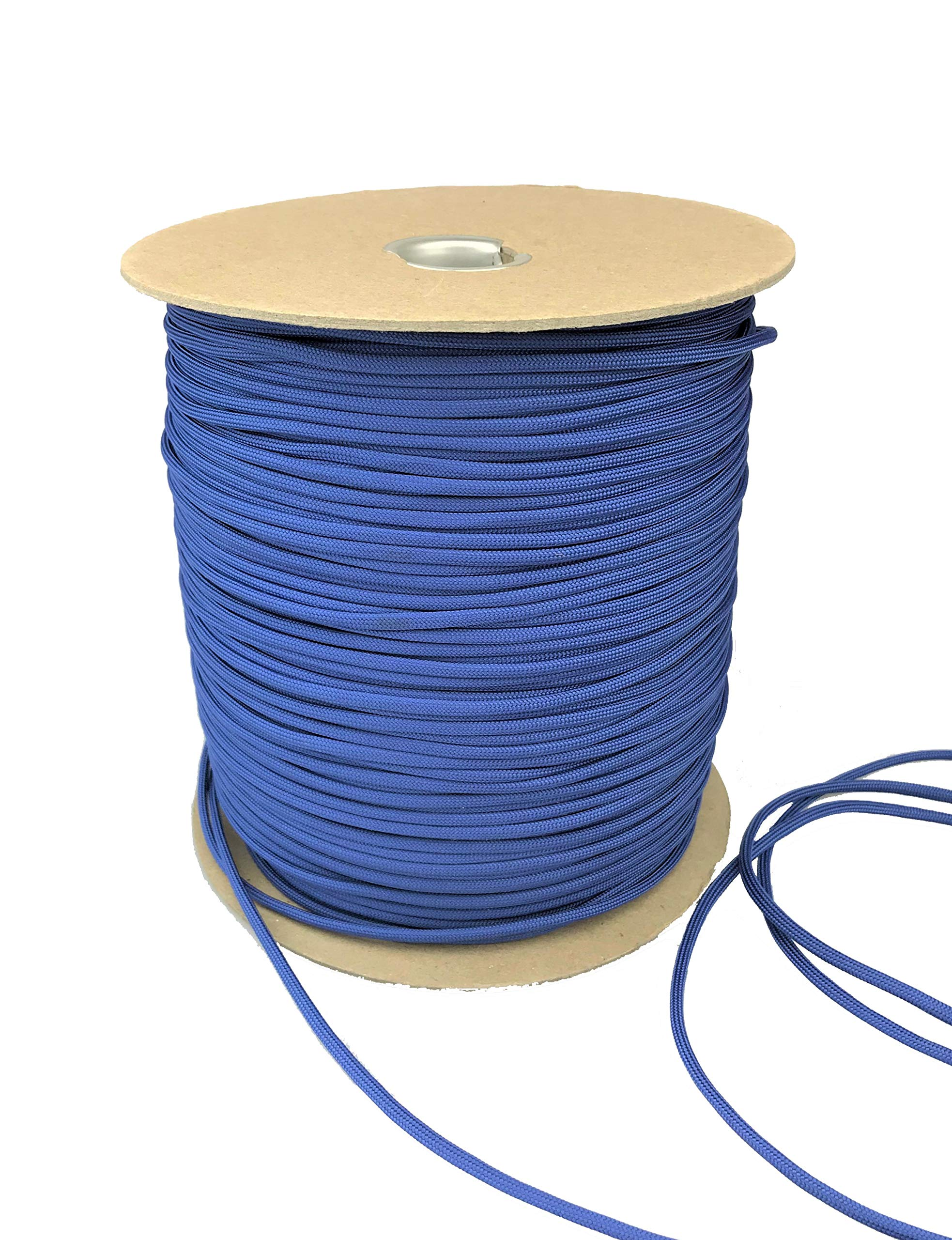Paracord 550 Type III 7 Strand Multi-Purpose Parachute Cord in 1000 and 100 Foot Spools. Used for Camping, Hiking, Boating, Survival, and Crafting. 100% Nylon-Made in the USA (Royal Blue, 1000)