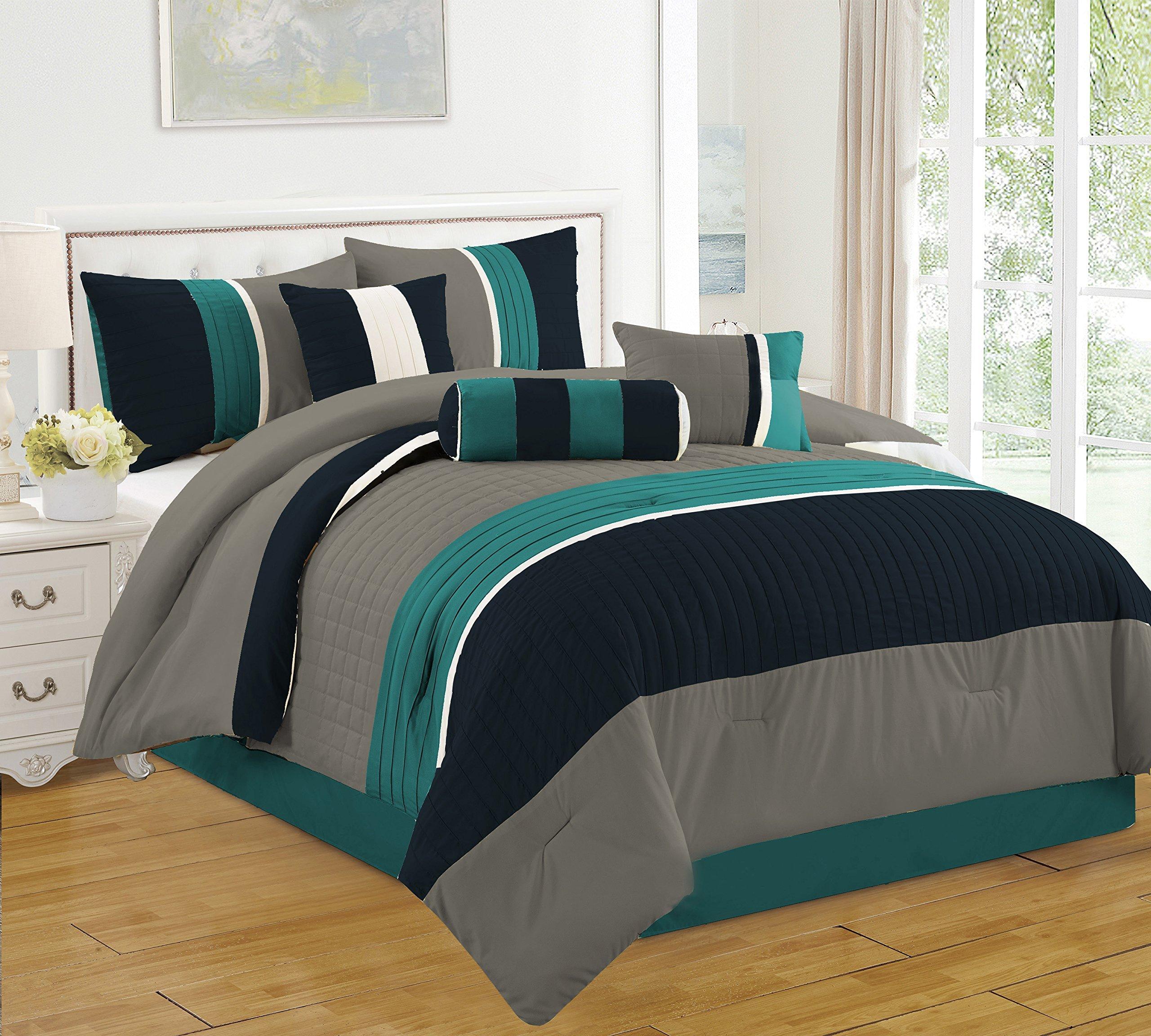 JBFF Bed_CF_20864_Blue_K 7 Piece King Blue Bed In Bag Microfiber Luxury Comforter Set
