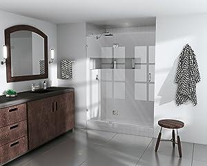 """Glass Warehouse Frameless Shower Door - Glass Hinge - with Enduroshield Glass Coating 78"""" x 60.5"""" Chrome"""
