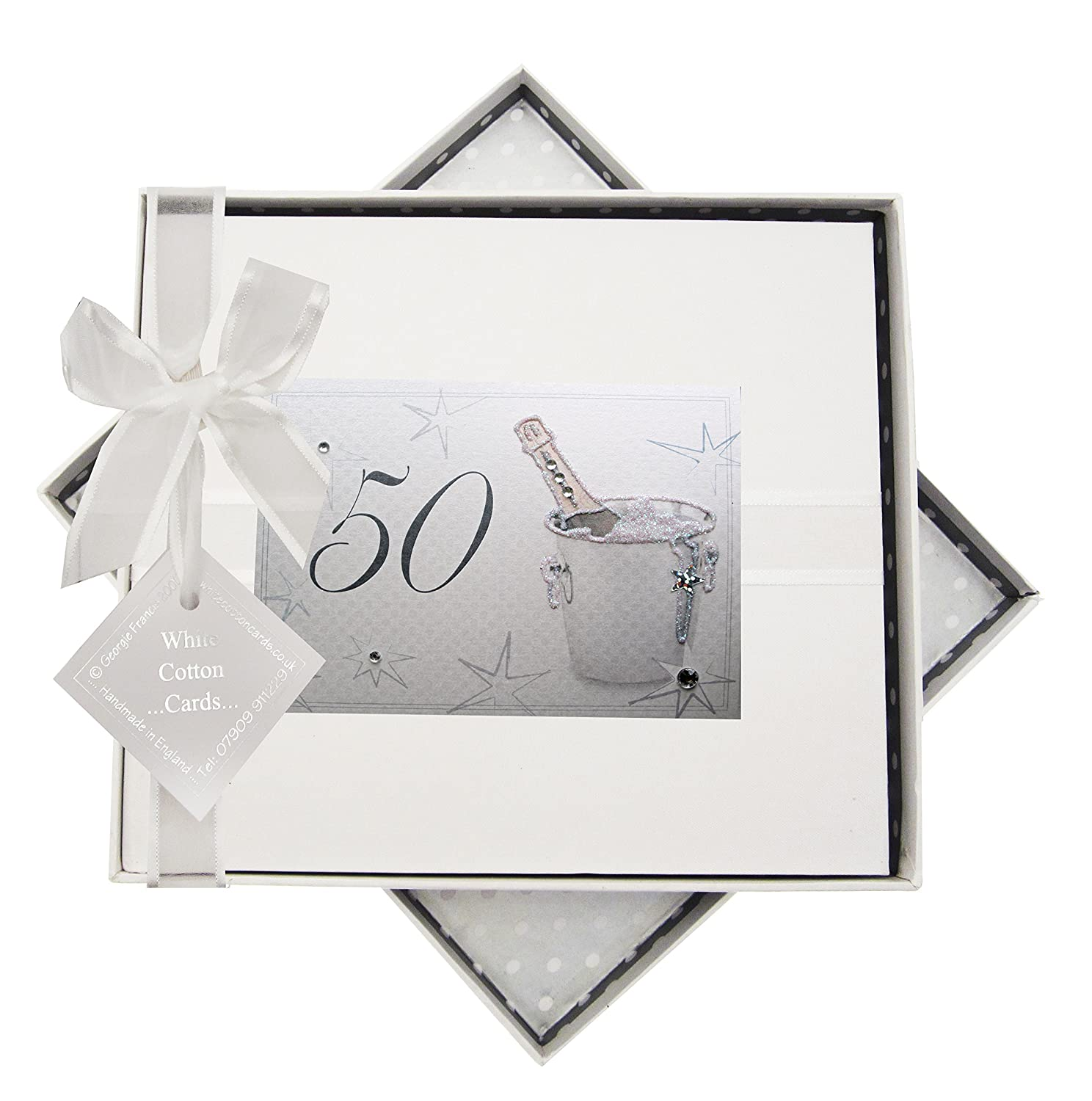 50th Birthday, Guest Book, Champagne Bucket White Cotton Cards AC50G