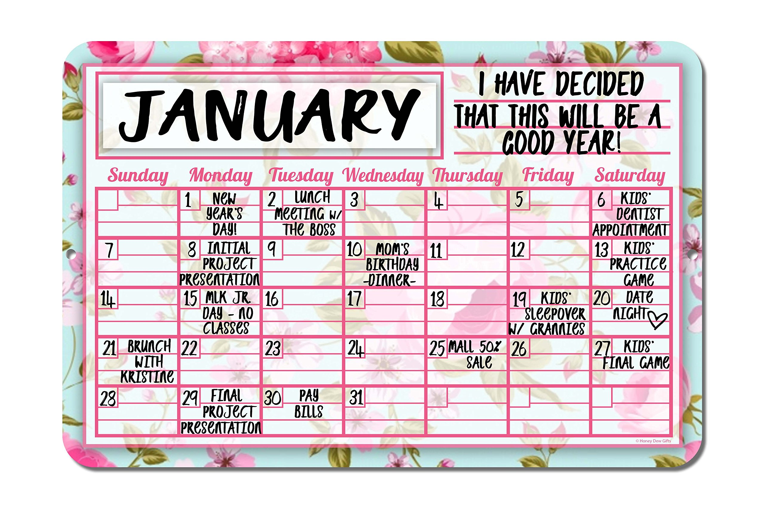 Pink Floral Shabby Chic Decorative Wall Calendar Planning Board - Reusable Easy Clean