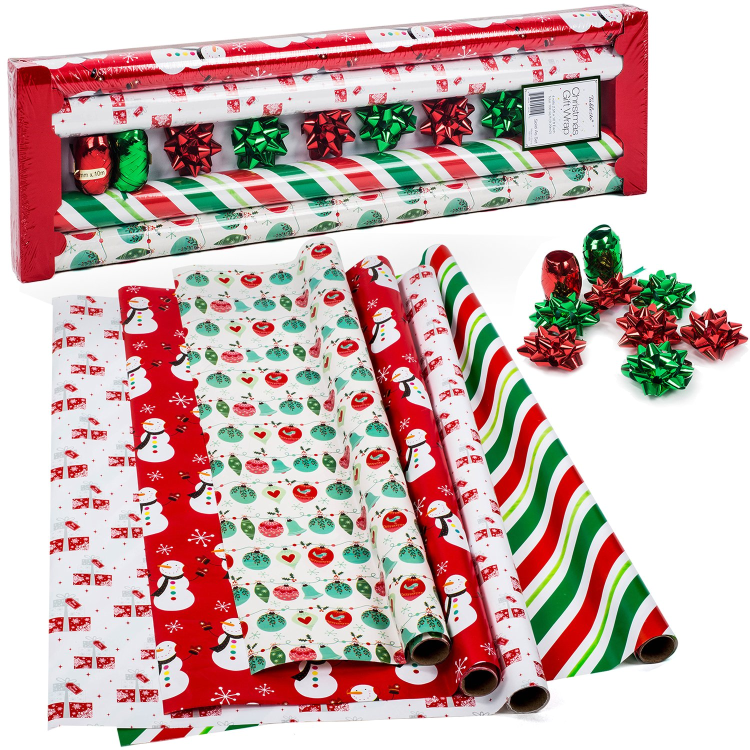 amazon com all occasion gift wrap 4 rolls festive health
