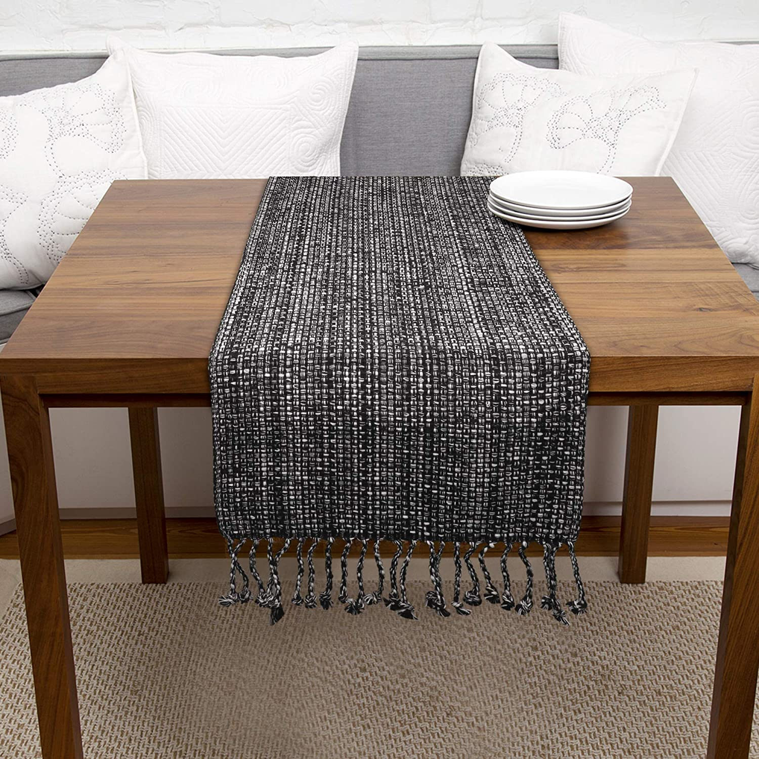 Urban Villa, 100% Cotton Two Tone Table Runner, Christmas Special,14''x 72'' Over Sized,Black/White Two Tone Table Runner with Fringes, Every Day Use,Heavier Quality