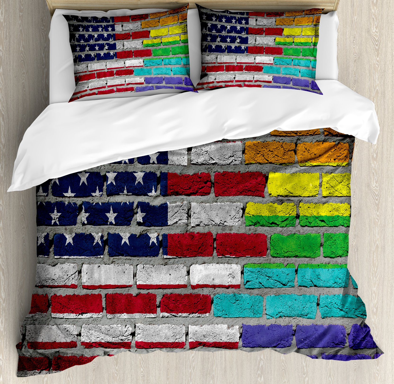 Pride Decorations Queen Size Duvet Cover Set by Ambesonne, Grunge Dark Brick Wall with American and Rainbow Flag Painted Together, Decorative 3 Piece Bedding Set with 2 Pillow Shams, Multicolor by Ambesonne