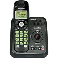 Vtech Dect 6.0 Single Handset Cordless Phone System with Digital Answering Machine and Green Backlit Keypad and Display (CS6124-11)