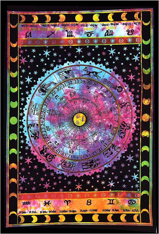 "ANJANIYA Sun Moon Star Zodiac Goodluck Tarot Card Bohemian Room Dorm Decor Hippie Indian Tie Dye Small Boho Tapestry Psychedelic Mandala Wall Hanging Art Cotton Tapestries (Multi, 30""X40"")"