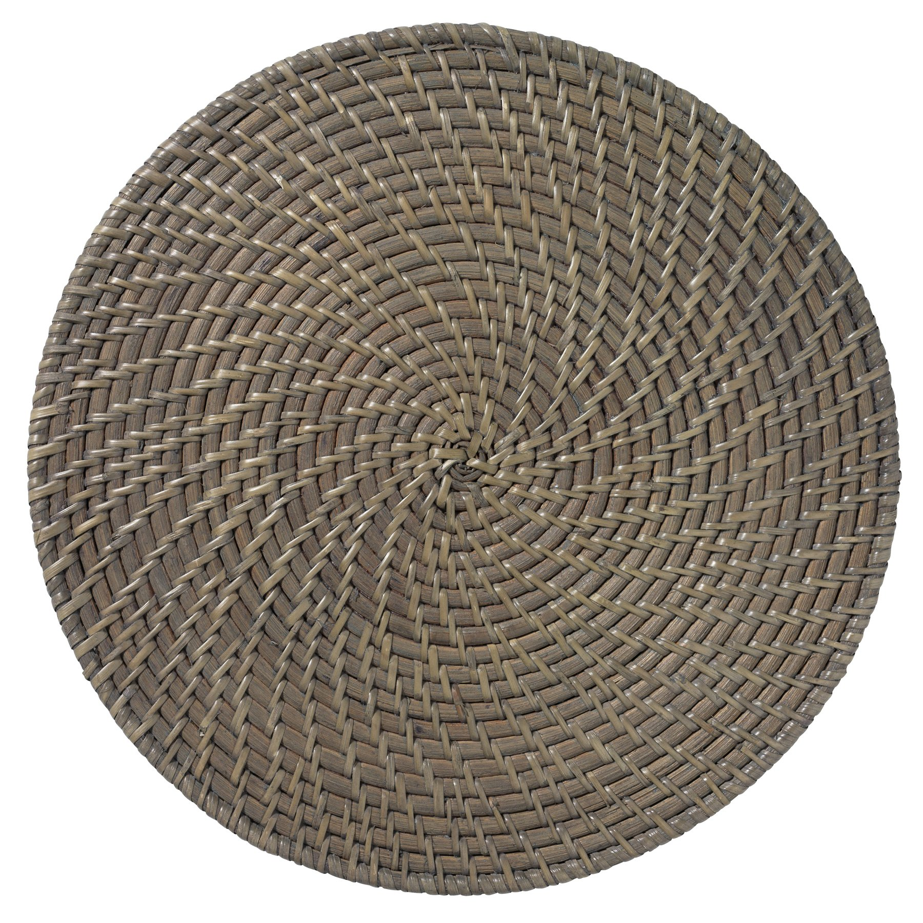 Merritt Rattan 14.5-inch Round Placemats, Set of 6, Gray