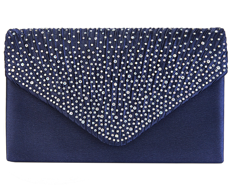 Charming Tailor Clutch Purse Evening Bag Envelope Diamante and Pleated Flap Handbag (Navy Blue)