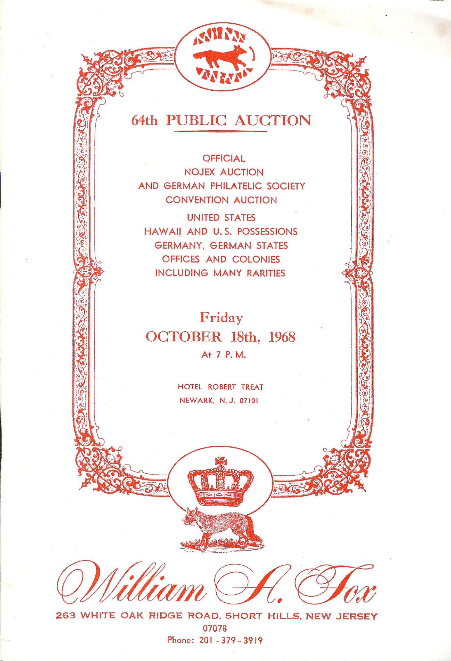 Official Nojex Auction and German Philatelic Society (Stamp