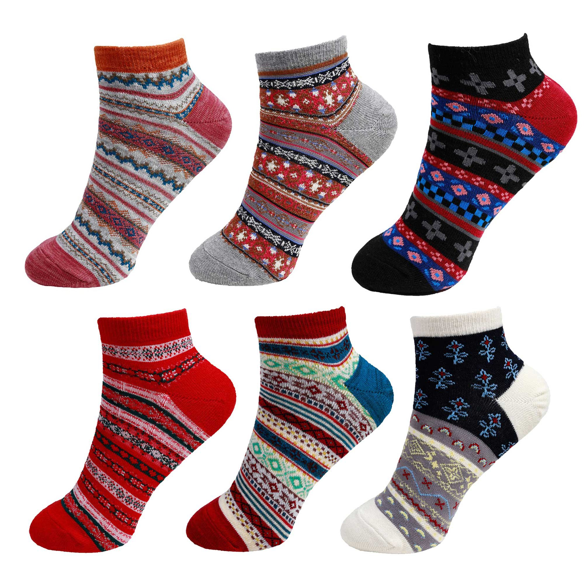 Women's Vintage Style Knitted Colorful Cotton Anklet Socks - 6A, Size XL, 6 prs