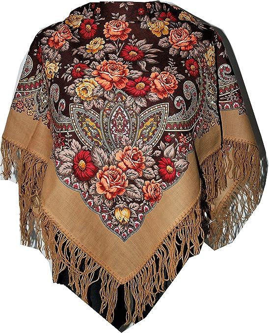 Belle authentique russe Pavlovo Posad Femme Echarpe Ch/âle Etole Paisley Folk 100/% laine avec des franges de soie 125cm x 125cm