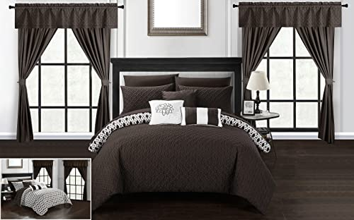 Chic Home Rotem 20 Piece Comforter Set Reversible Geometric Quilted Design Complete Bed in a Bag Bedding Sheets Decorative Pillows Shams Window Treatments Curtains Included, King Brown