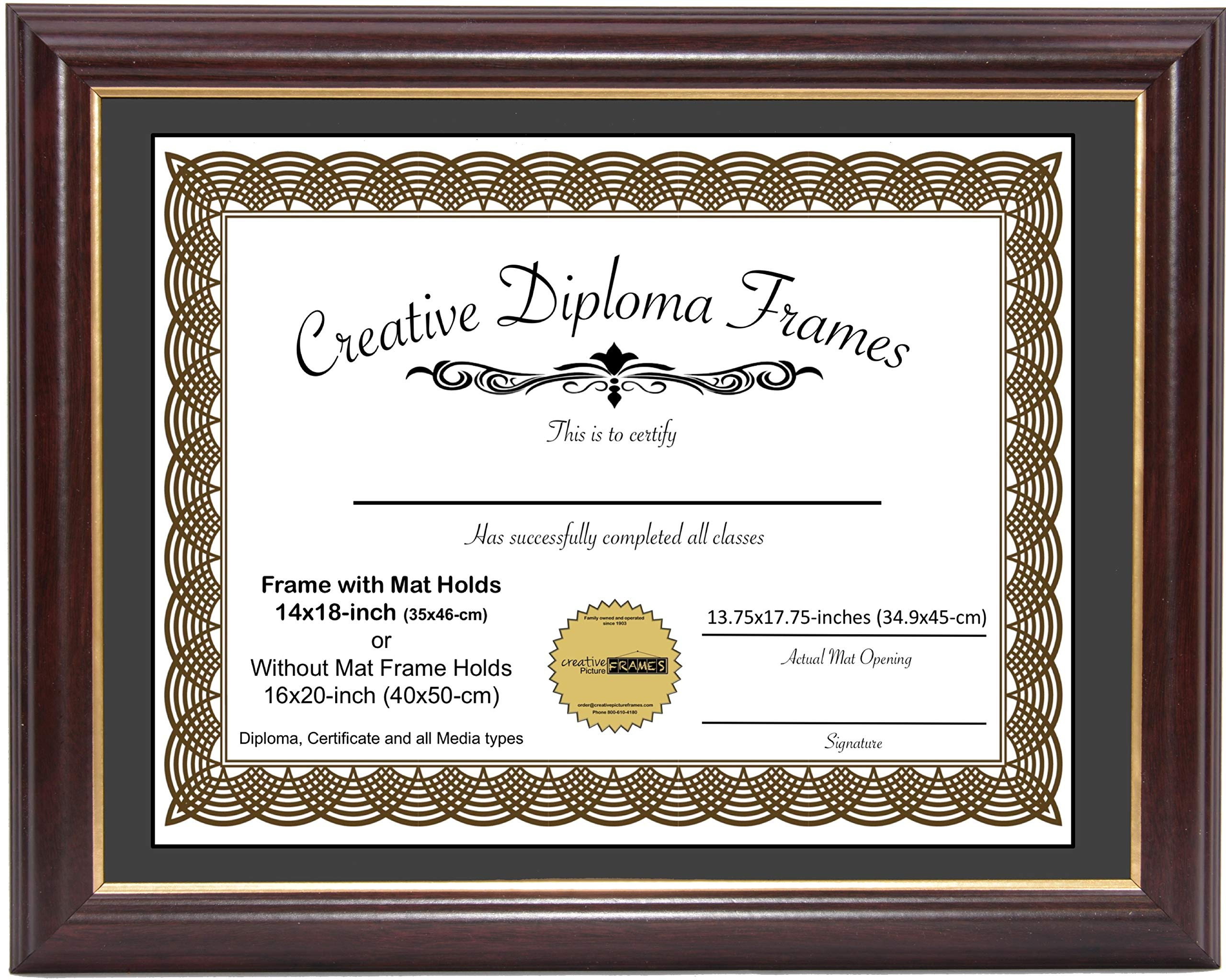 CreativePF [14x17-Diploma] Mahogany Frame with Gold Rim, Black Matting Holds 14x17-inch Documents with Glass and Installed Wall Hanger