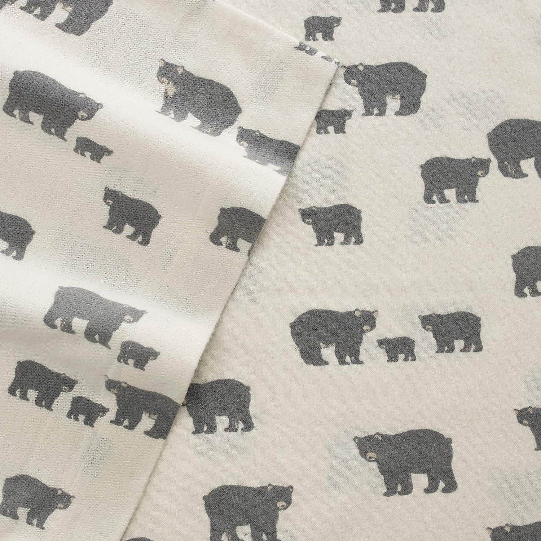 Eddie Bauer Bear Family Twin Flannel Sheet Set, Gray