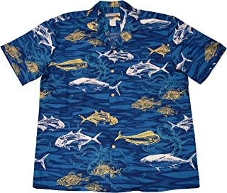 product image for Paradise Found Waimea Casuals Mens Deep Sea Shirt Blue 2X