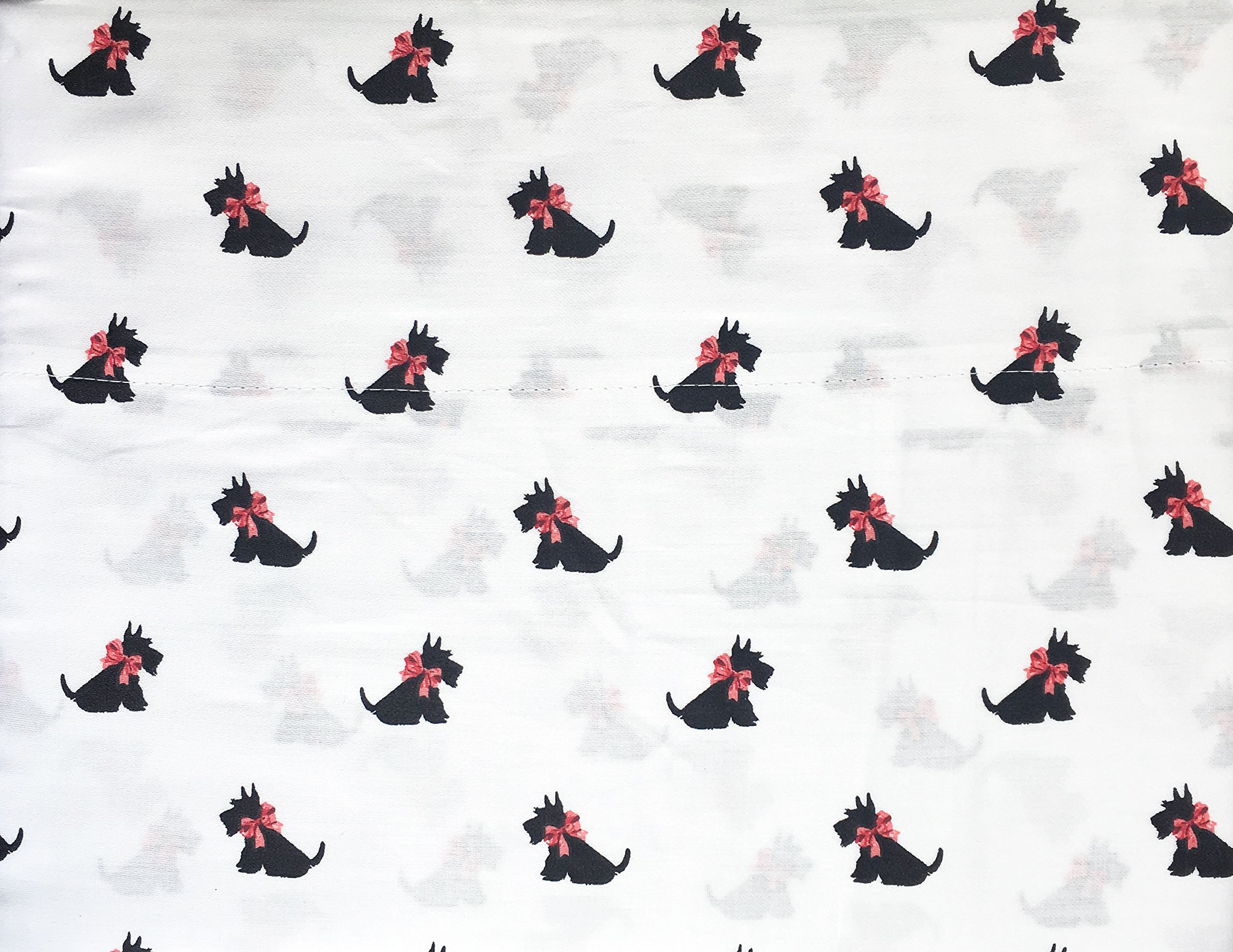 Kids Sheet Set, Holiday Scotty Dogs, Black with Pink Ribbon Bows on White, 3 Piece Twin Size Single Bed, 100% Cotton, Queenwest Trading Company by Queenwest Trading Co.