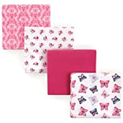 Hudson Baby Receiving Blankets, 4 Pack, Butterflies
