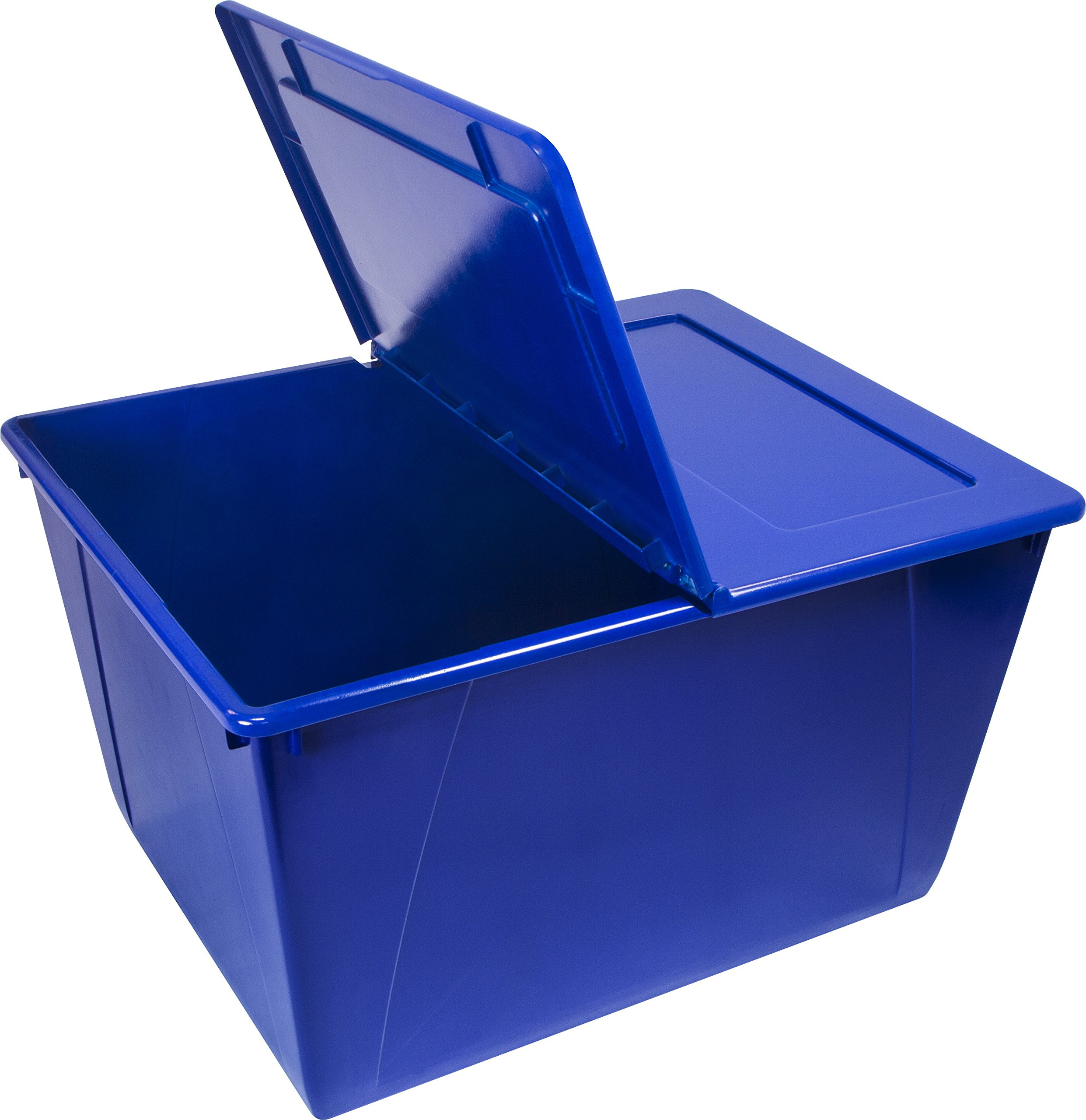 Storex 16 Gallon Storage Tote with Folding Lid, 22.7 x 18.25 x 12.86 Inches, Blue (STX00900U01C)