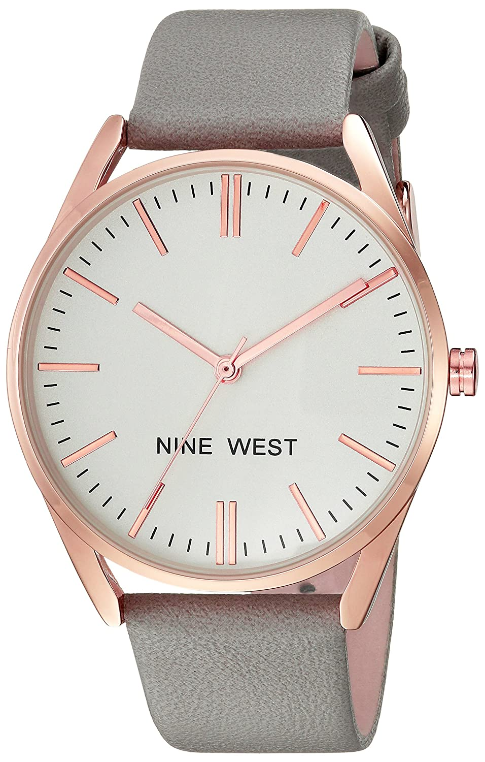 8b765c447419b Amazon.com  Nine West Women s NW 1994RGGY Rose Gold-Tone and Grey Strap  Watch  Watches