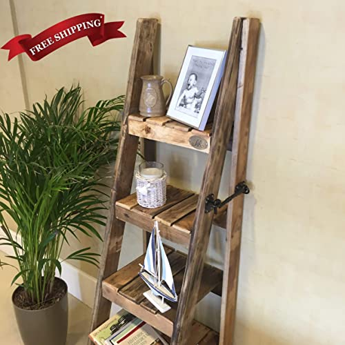 Rustic Ladder Shelves Handmade In Kent Using Reclaimed Wood