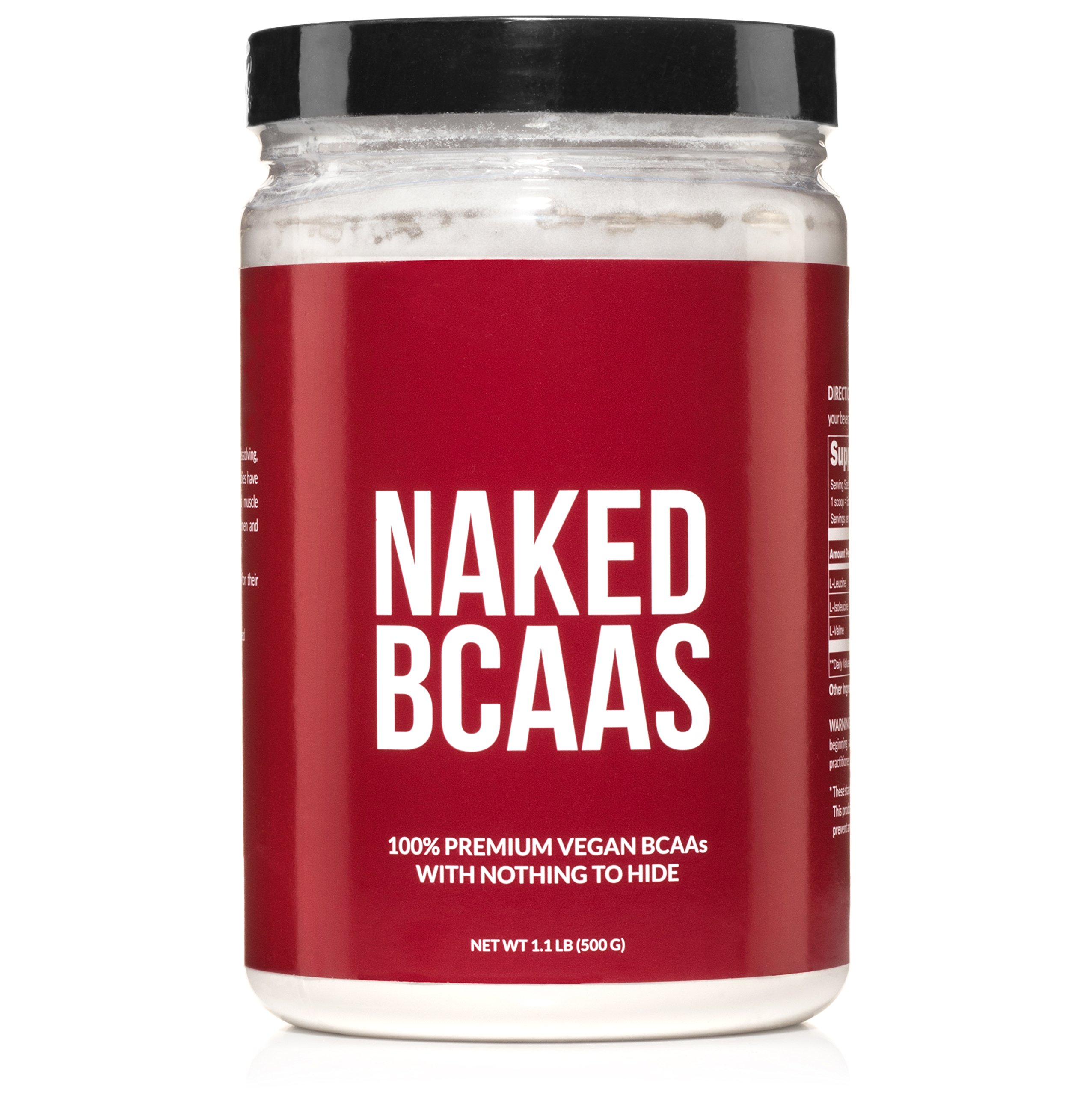 NAKED BCAAs Amino Acids Powder - 100 Servings - Vegan Unflavored Branched Chain Amino Acids 500 grams | 100% Pure 2:1:1 Formula - Instantized All Natural BCAA Powder Supplement to Boost Muscle Growth