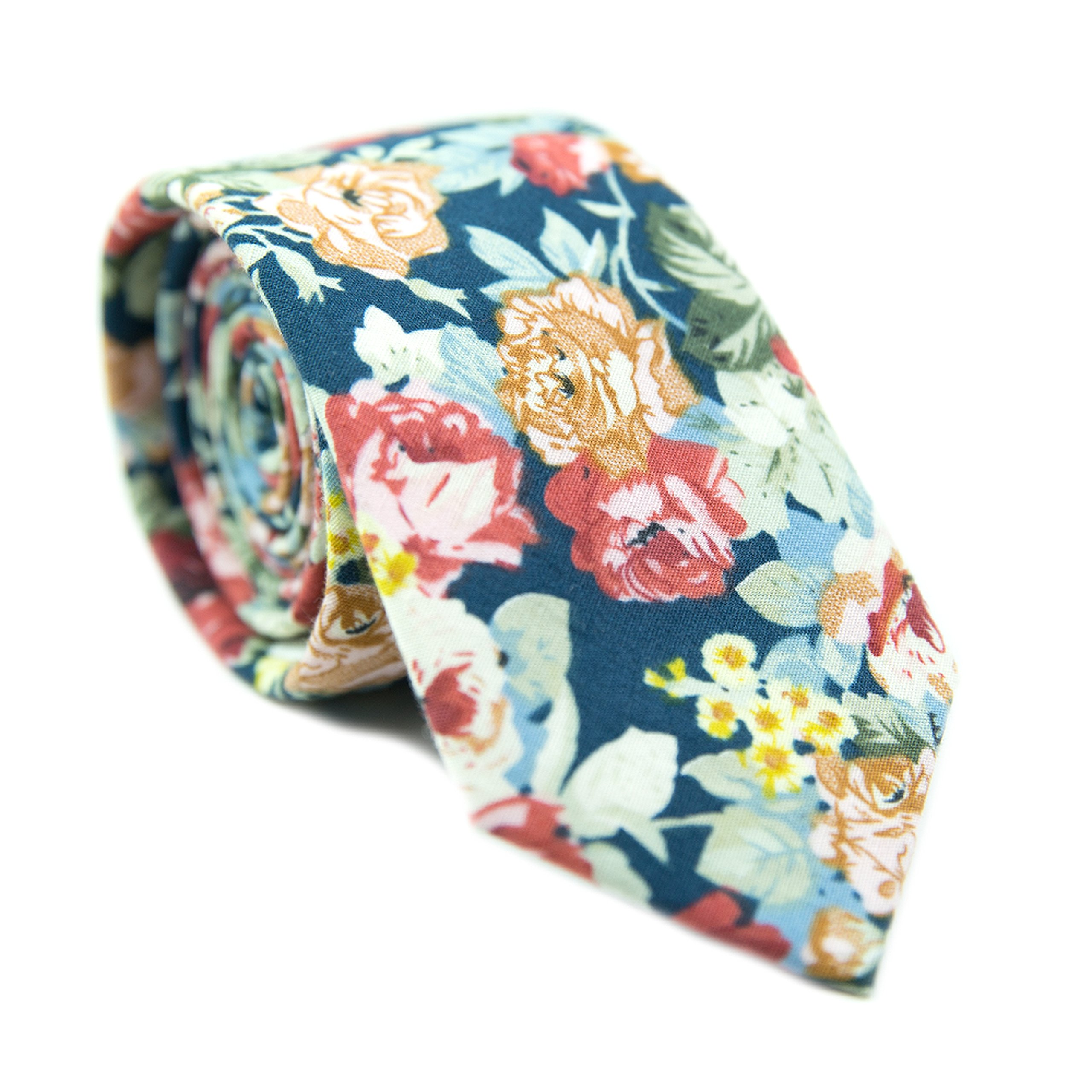 DAZI Men's Skinny Tie Floral Print Cotton Necktie, Great for Weddings, Groom, Groomsmen, Missions, Dances, Gifts. (Mardi) by DAZI