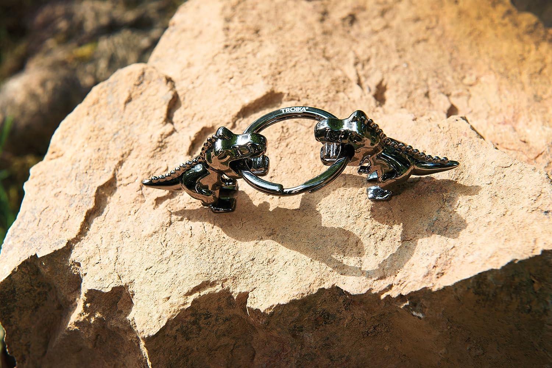 TROIKA K-REX – KR17-39/GM – Keyring – T-Rex, Tyrannosaurus Rex, dinosaur, dino – cast metal– shiny – gunmetal grey – TROIKA-original