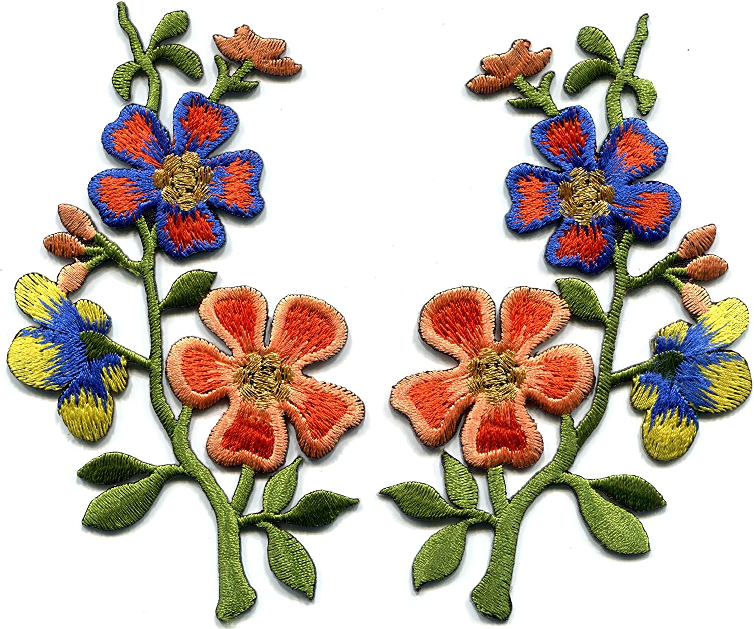 """2.5/"""" Orange Red Yellow Flower embroidery patch"""