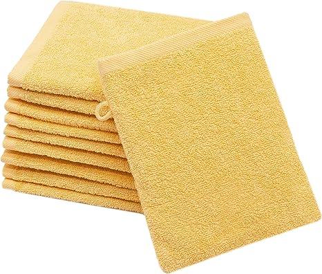 Zollner 10 manoplas de baño, algodón, 16x21 cm, amarillo, otros ...
