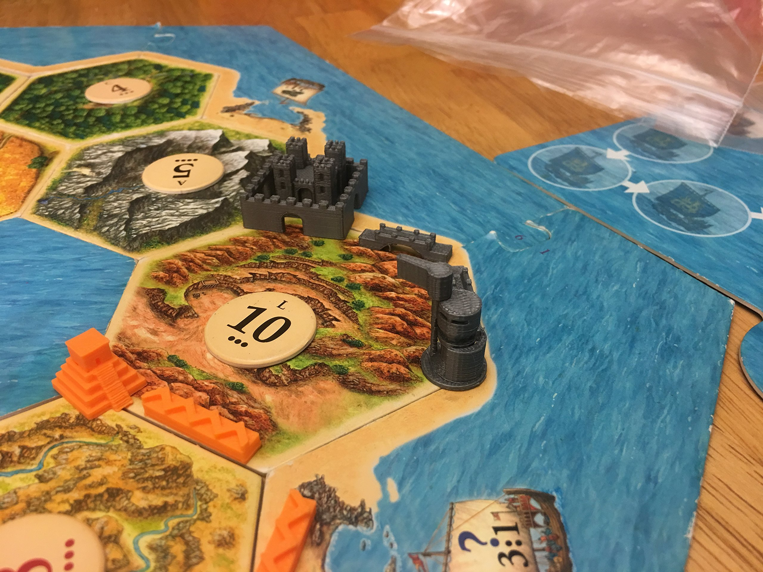 Build3D Replacement Pieces for Settlers of Catan Cities and Knights Expansion - 6 Player Set - Chinese - Egpytian - Roman - Incan - Gothic - Viking - Metropolis - Merchant - Barbarian Ship