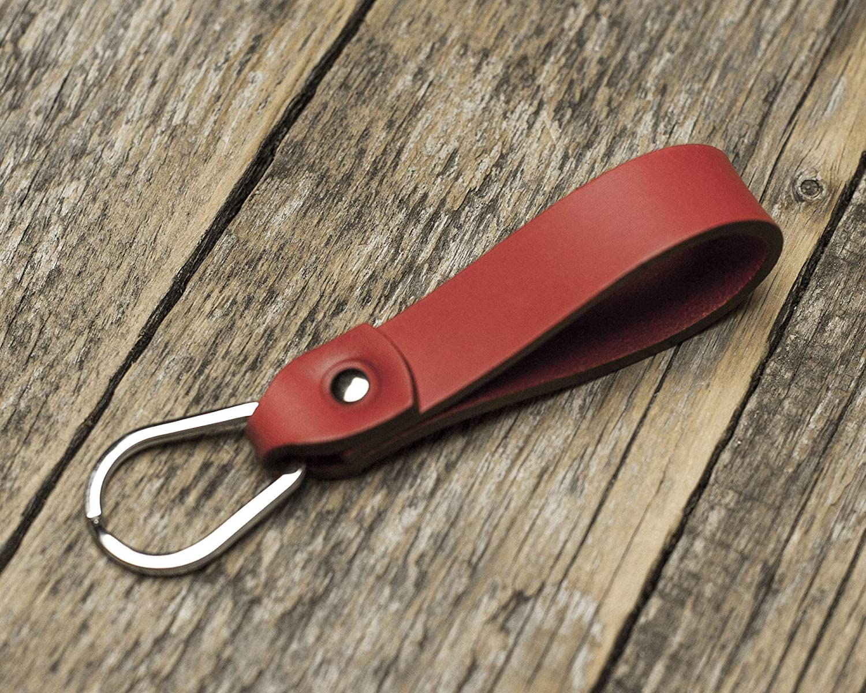 Rojo llavero de cuero, forma de gota