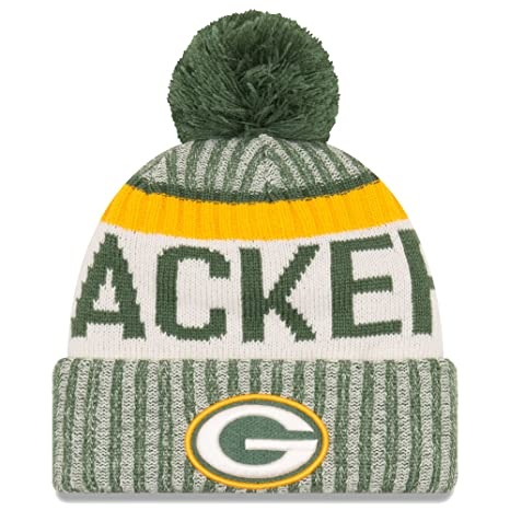 Amazon.com   New Era Knit Green Bay Packers Gray On Field Sideline ... 18a4f99e947