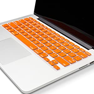 Kuzy - MacBook Keyboard Cover for Older Version MacBook Pro 13 15 17 inch and MacBook Air 13 inch, iMac Wireless Keyboard Apple Computer Accessories Key Board Silicone Skin Protector - Metallic Orange