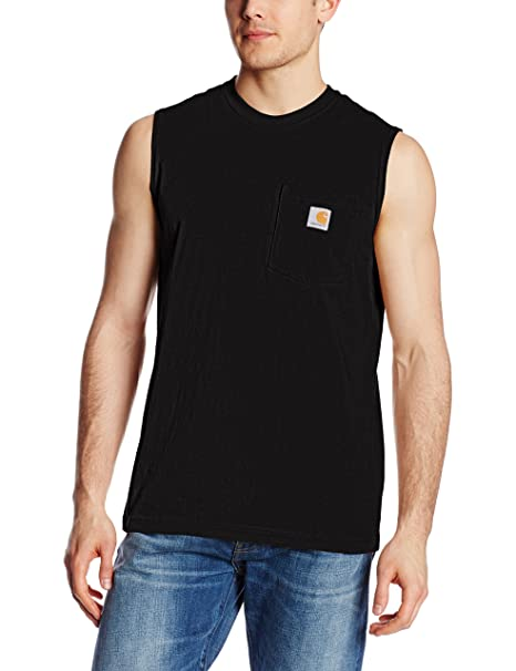 b8aa2db6cb9577 Carhartt Men s Workwear Pocket Sleeveless Midweight T-Shirt Relaxed  Fit