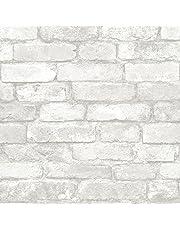 NuWallpaper NU1653 Grey and White Brick Peel & Stick Wallpaper