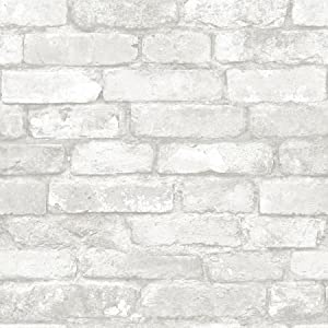 NuWallpaper NU3010 Grey and White Brick Peel & Stick Wallpaper