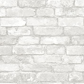 Nuwallpaper Grey And White Brick Peel And Stick Wallpaper Amazon Co Uk Diy Tools