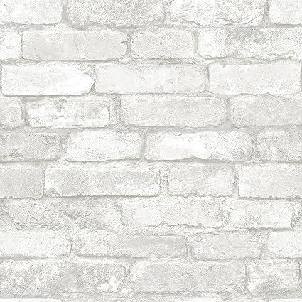 Nuwallpaper Nu1653 Grey And White Brick Peel Stick Wallpaper