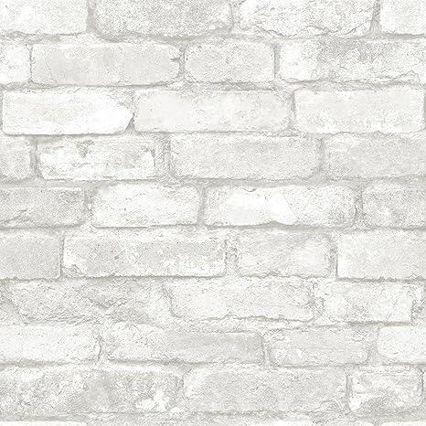 Nuwallpaper Nu3010 Grey And White Brick Peel Stick Wallpaper