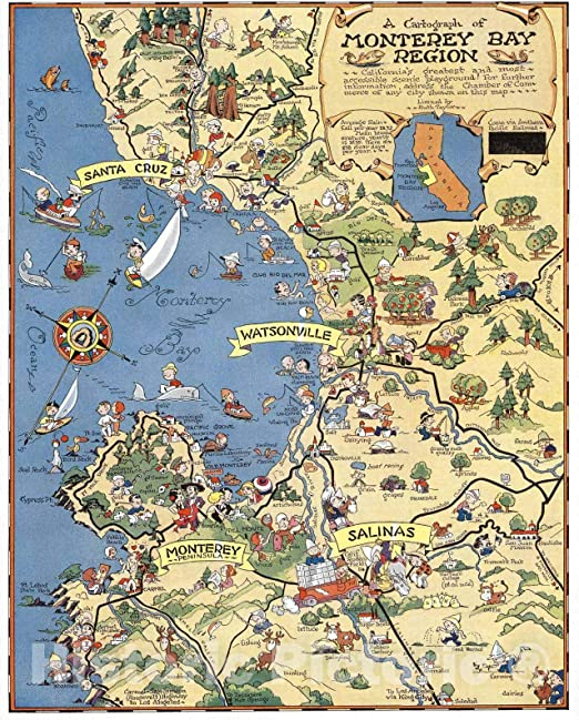 Amazon Com Historic Map A Cartograph Of Monterey Bay Region Monterey Bay Region 1932 Vintage Wall Art 24in X 30in Posters Prints We road north stopped for coffee and enjoyed it overlooking the bay. a cartograph of monterey bay region